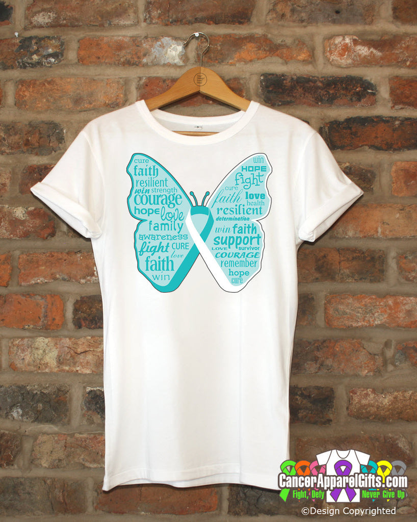 Cervical Cancer Butterfly Collage of Words Shirts