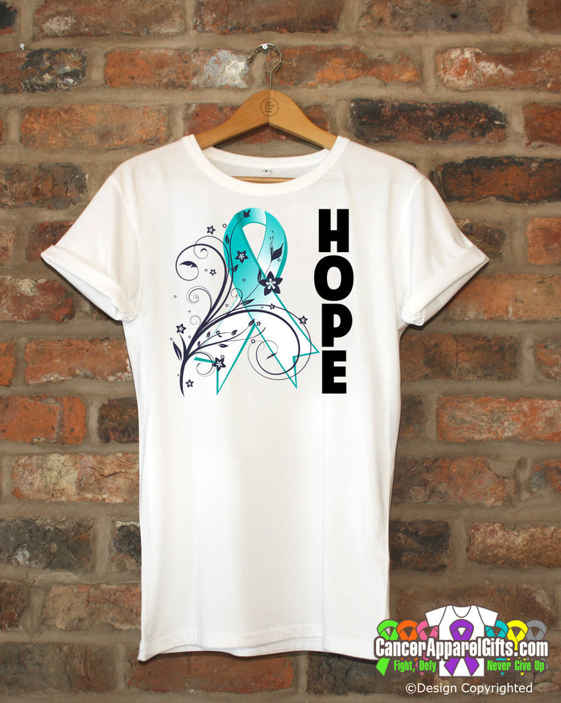 Cervical Cancer Floral Hope Ribbon T-Shirt