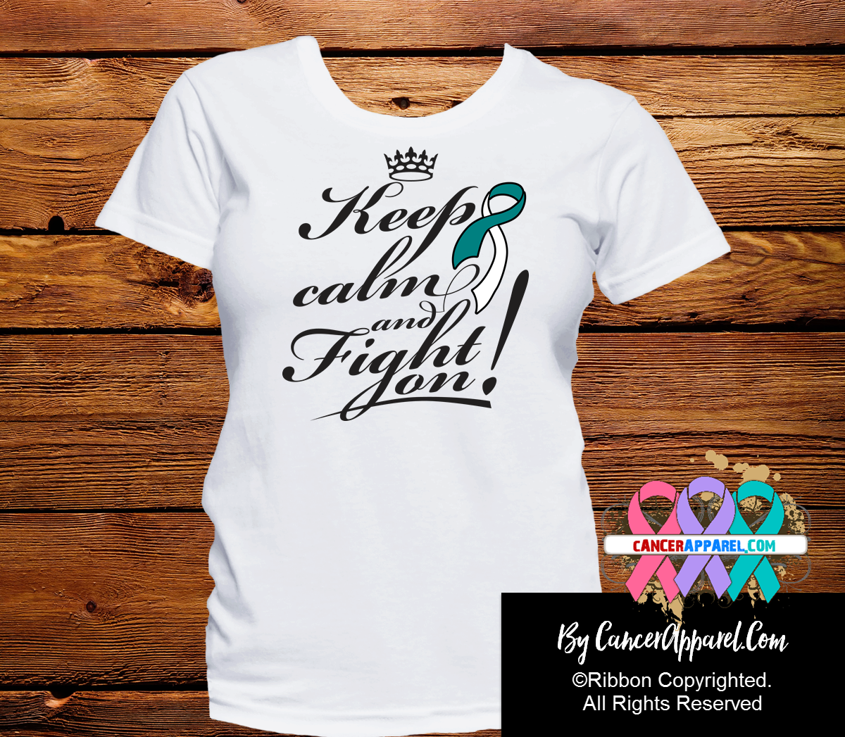Cervical Cancer Keep Calm and Fight On Shirts - Cancer Apparel and Gifts