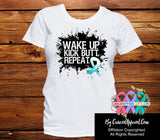 Cervical Cancer Shirts Wake Up Kick Butt and Repeat - Cancer Apparel and Gifts