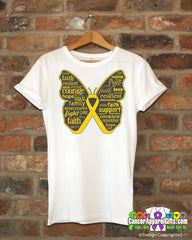 Childhood Cancer Butterfly Collage of Words Shirts