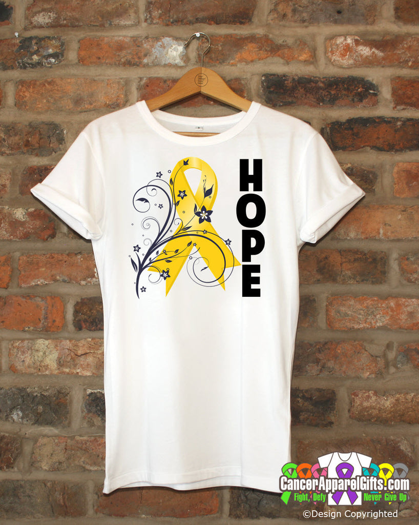 Childhood Cancer Floral Hope Ribbon T-Shirt