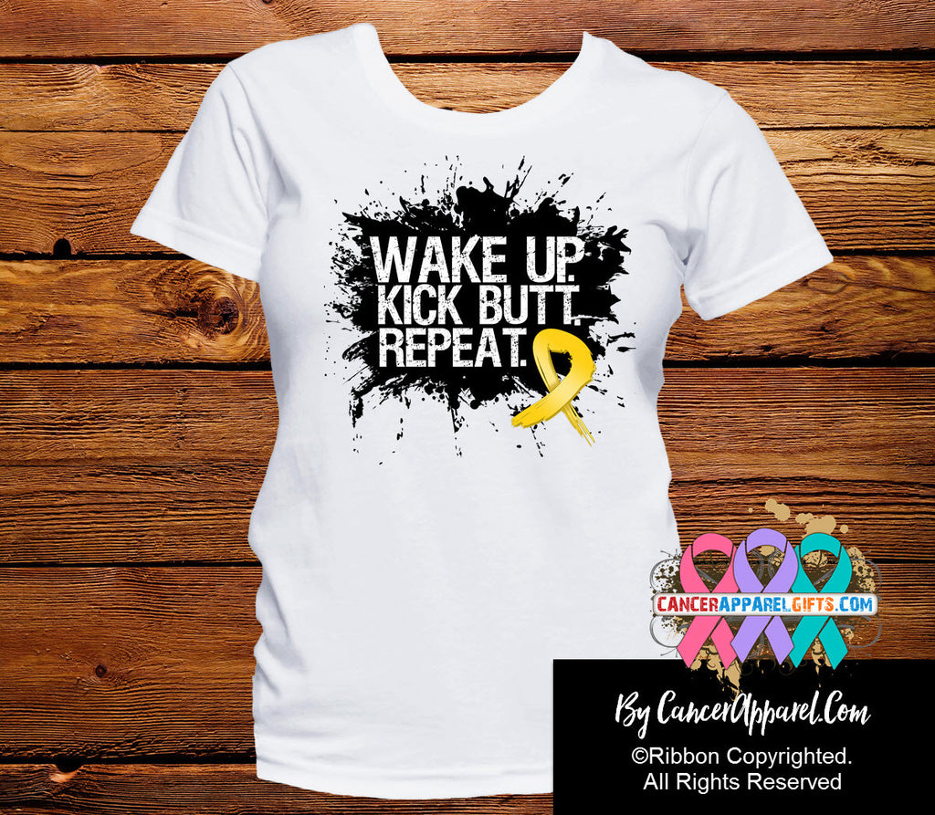 Childhood Cancer Shirts Wake Up Kick Butt and Repeat
