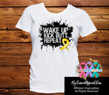 Childhood Cancer Shirts Wake Up Kick Butt and Repeat - Cancer Apparel and Gifts