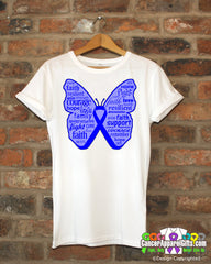 Colon Cancer Butterfly Collage of Words Shirts