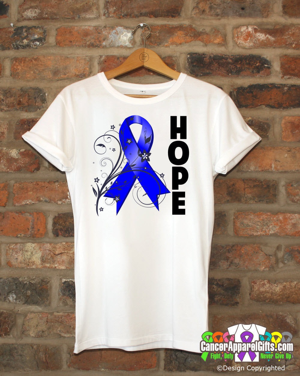 Colon Cancer Floral Hope Ribbon T-Shirt
