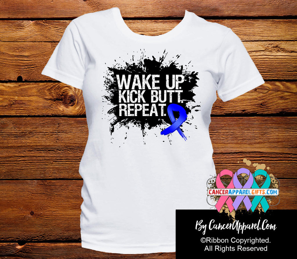 Colon Cancer Shirts Wake Up Kick Butt and Repeat