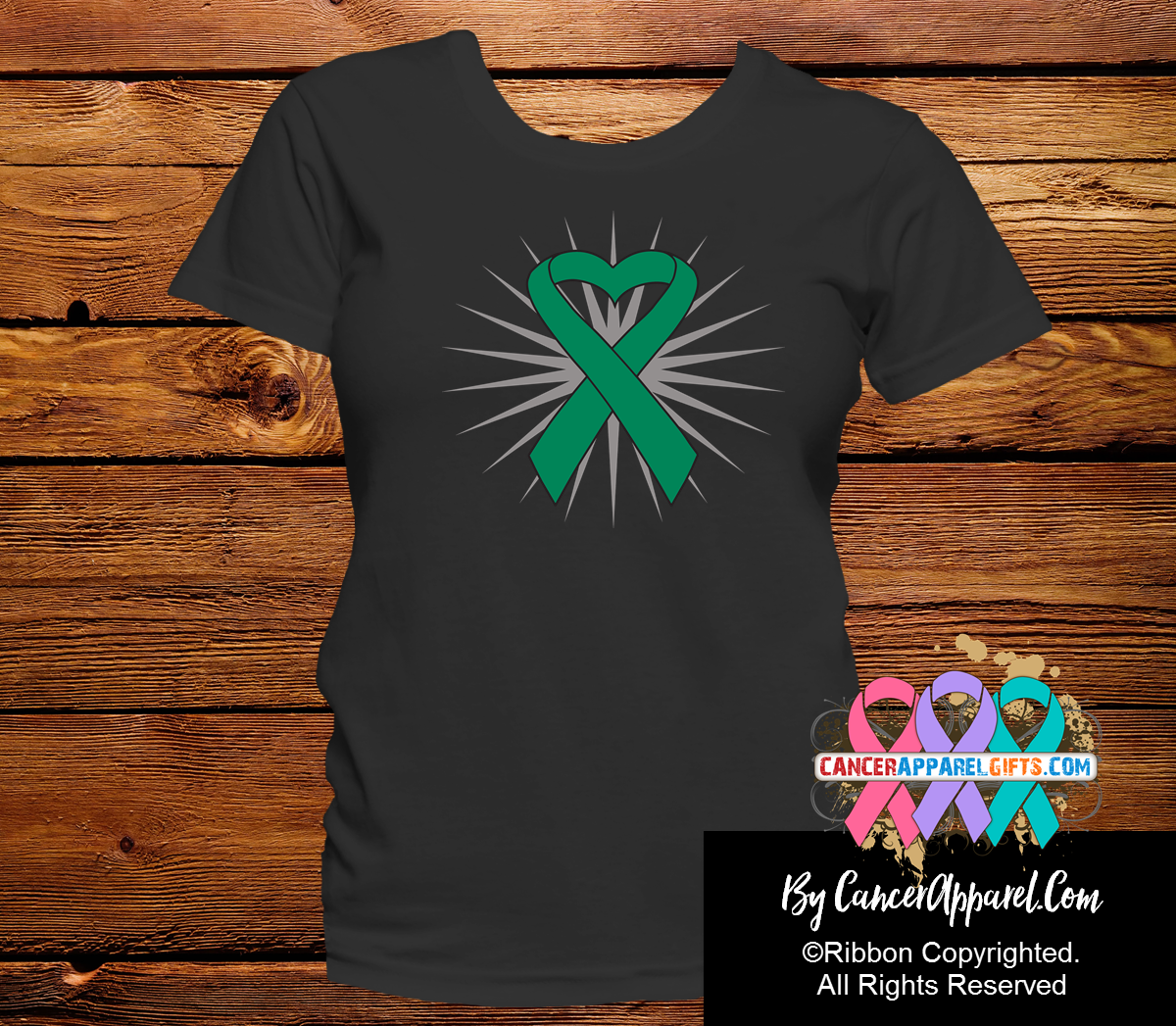 Liver Cancer Awareness Heart Ribbon Shirts - Cancer Apparel and Gifts