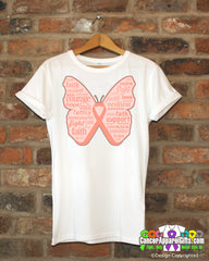 Endometrial Cancer Butterfly Collage of Words Shirts