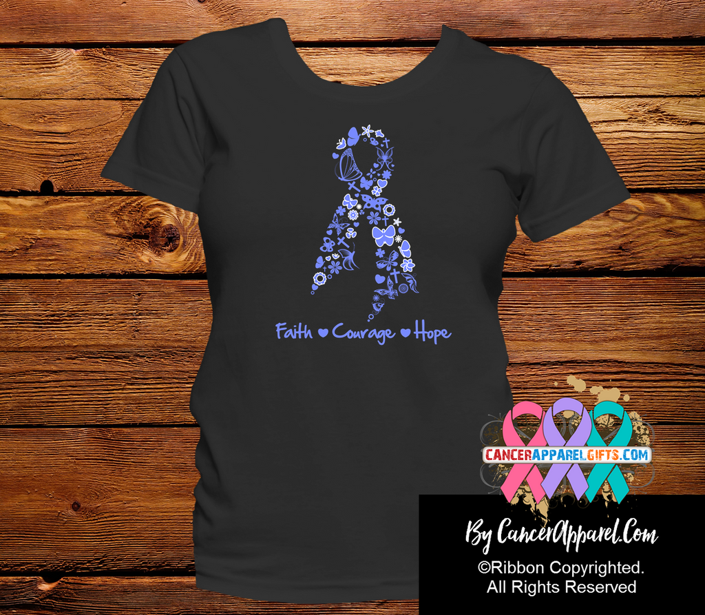 Esophageal Cancer Ribbon Faith Courage Hope Shirts