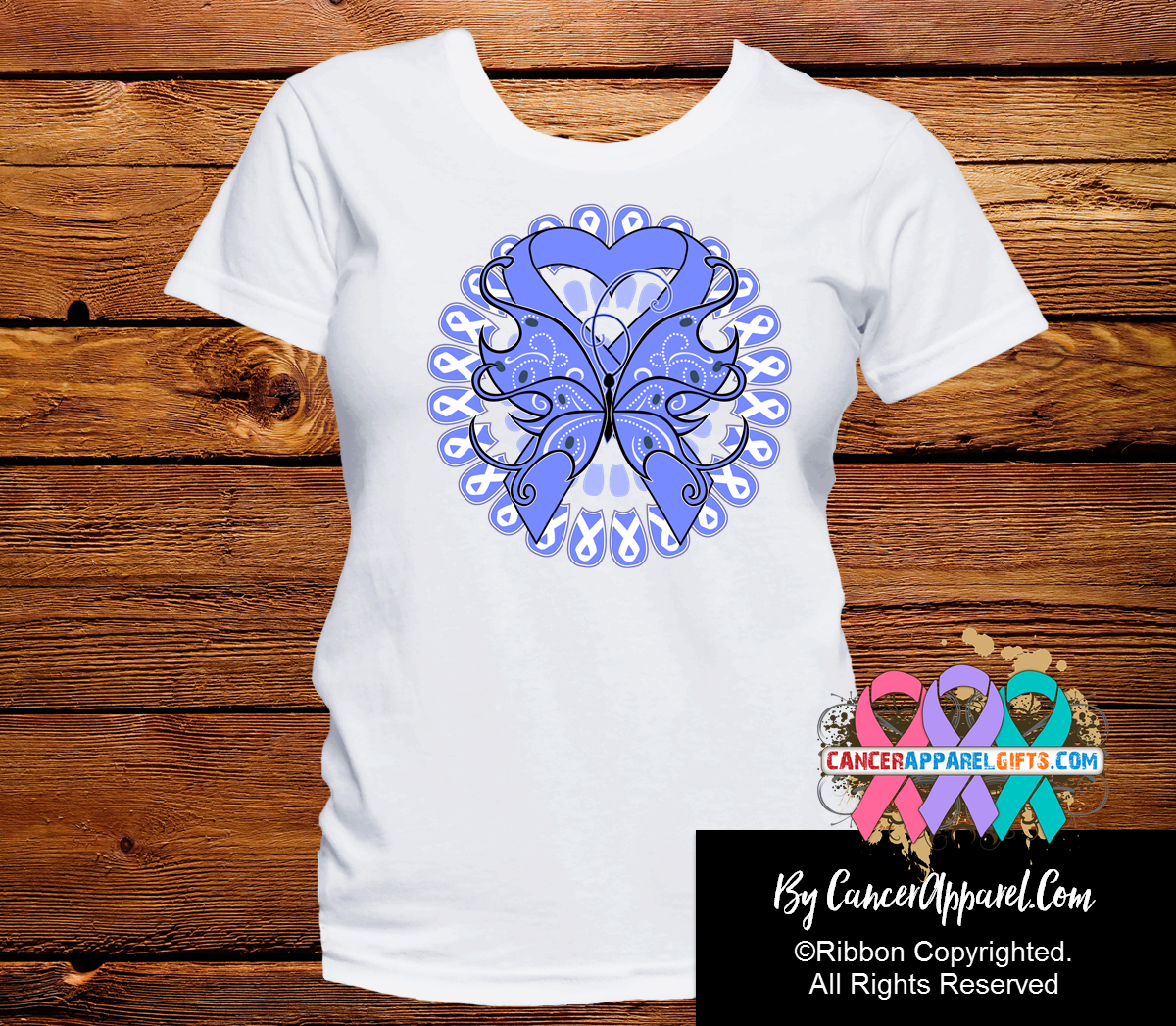 Esophageal Cancer Stunning Butterfly Shirts - Cancer Apparel and Gifts