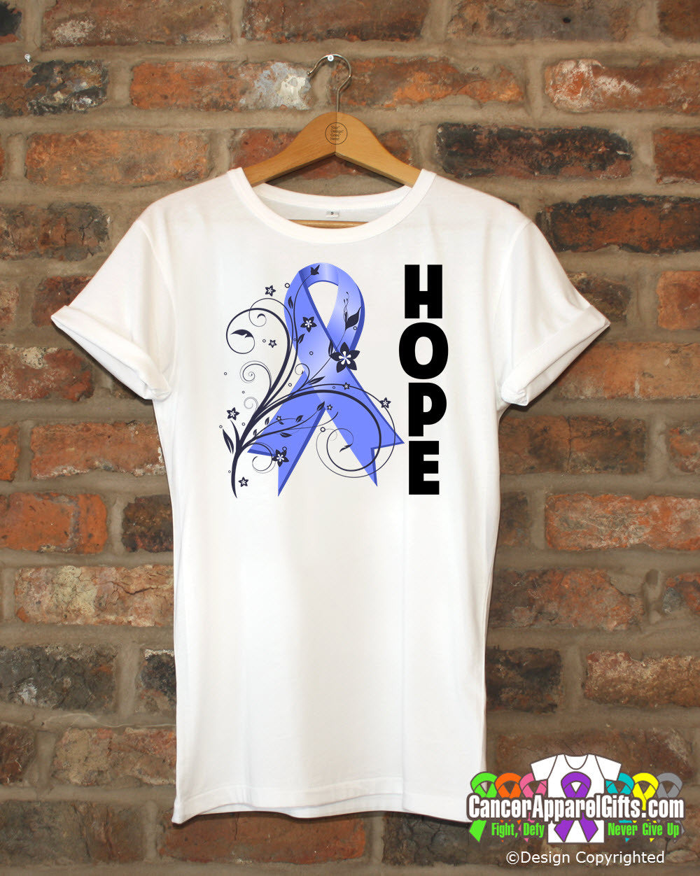 Esophageal Cancer Floral Hope Ribbon T-Shirt