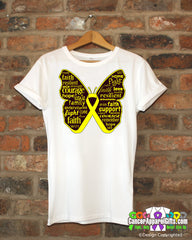 Ewings Sarcoma Butterfly Collage of Words Shirts