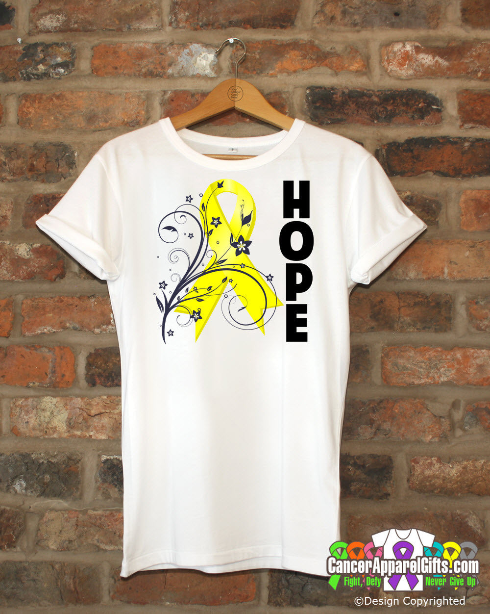 Ewings Sarcoma Floral Hope Ribbon T-Shirt