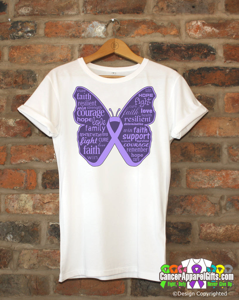 General Cancer Butterfly Collage of Words Shirts