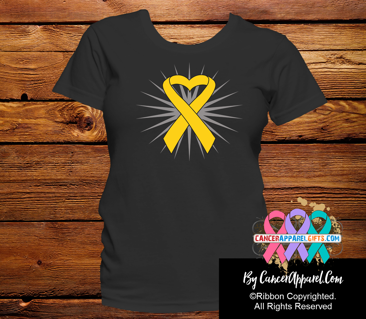 Childhood Cancer Heart Ribbon Shirts - Cancer Apparel and Gifts