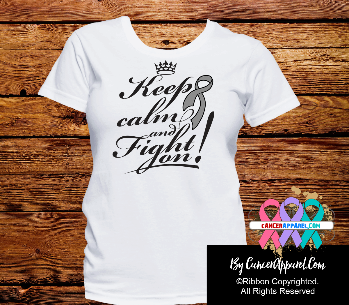 Brain Cancer Keep Calm Fight On Shirts - Cancer Apparel and Gifts