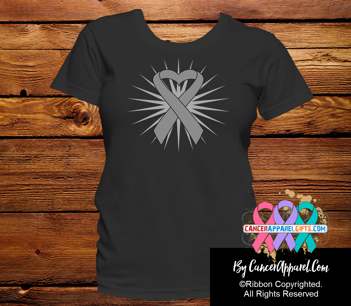 Brain Cancer Heart Ribbon Shirts - Cancer Apparel and Gifts