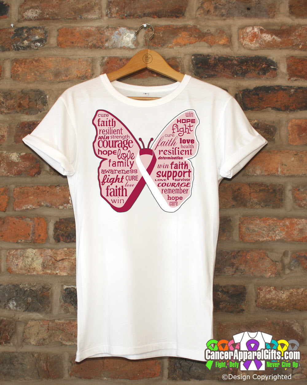 Head Neck Cancer Butterfly Collage of Words Shirts