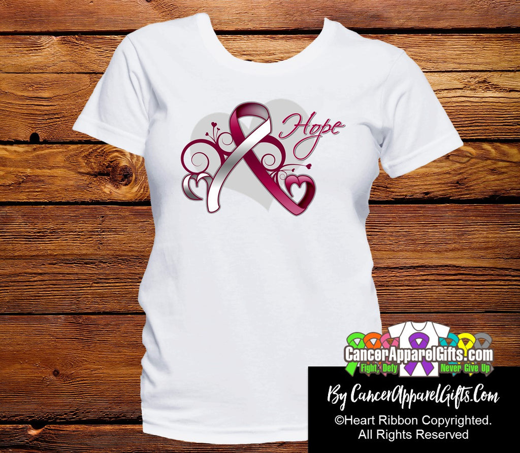 Head Neck Cancer Heart of Hope Ribbon Shirts