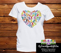 Colorful Awareness Heart Ribbon of Support Shirts