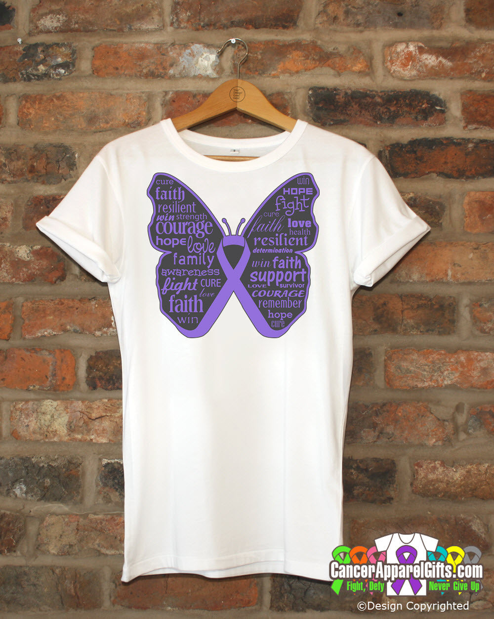 Hodgkins Lymphoma Butterfly Collage of Words Shirts