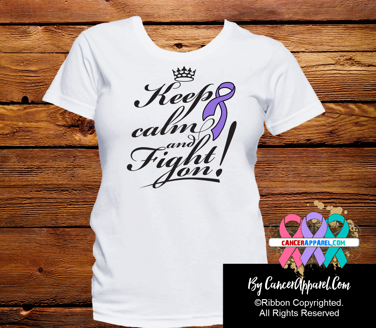 Hodgkins Lymphoma Keep Calm and Fight On Shirts - Cancer Apparel and Gifts