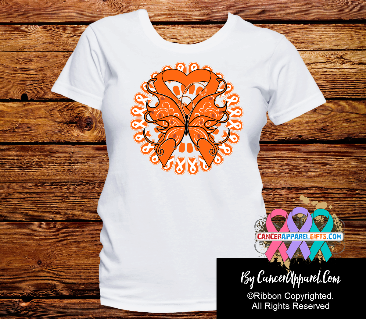 Kidney Cancer Stunning Butterfly Shirts - Cancer Apparel and Gifts