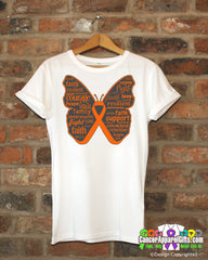 Kidney Cancer Butterfly Collage of Words Shirts