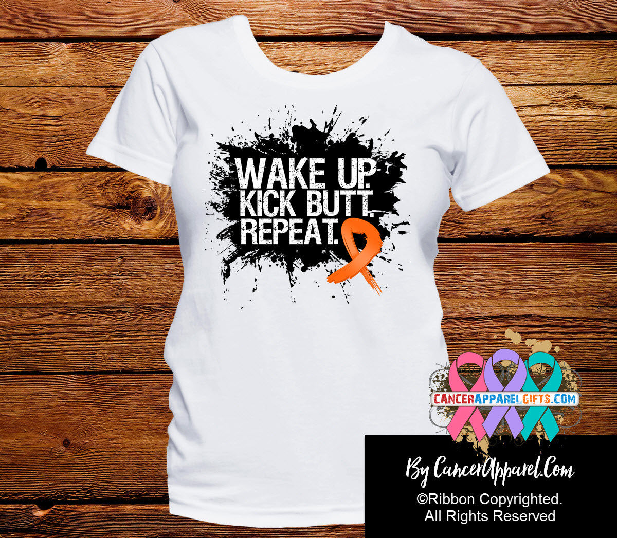Leukemia Shirts Wake Up Kick Butt and Repeat