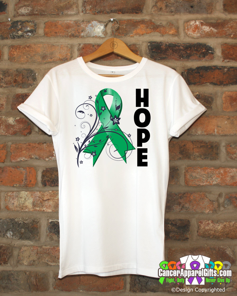 Liver Cancer Floral Hope Ribbon T-Shirt
