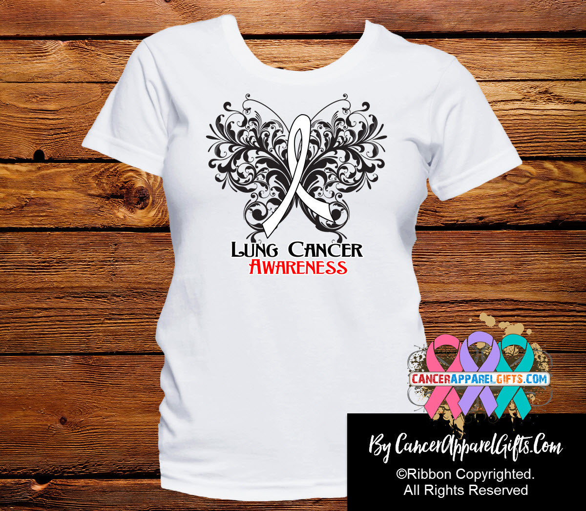 Lung Cancer Butterfly Ribbon Shirts - Cancer Apparel and Gifts