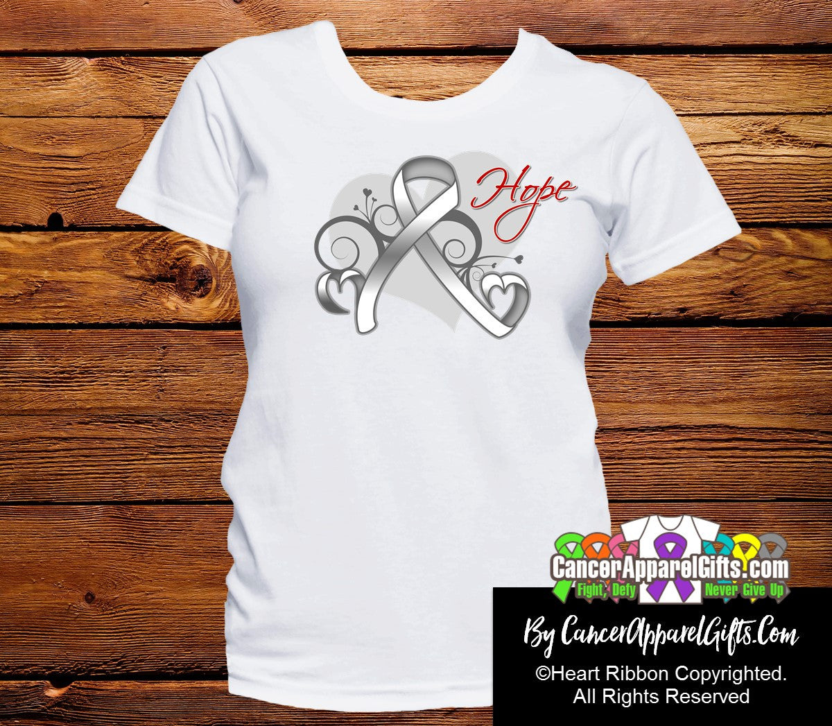 Lung Cancer Heart of Hope Ribbon Shirts