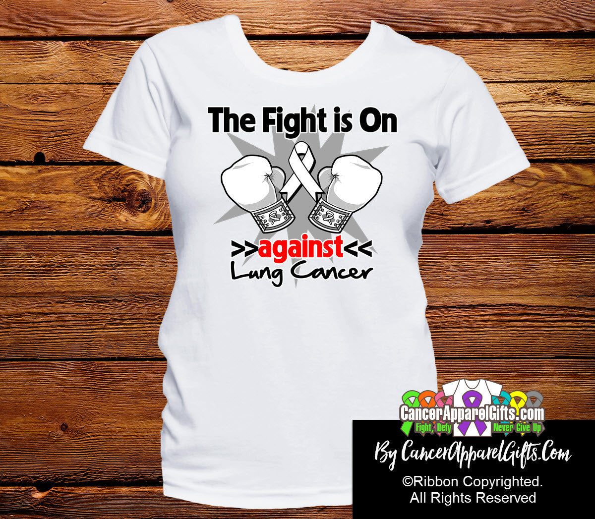 Lung Cancer The Fight is On Ladies Shirts
