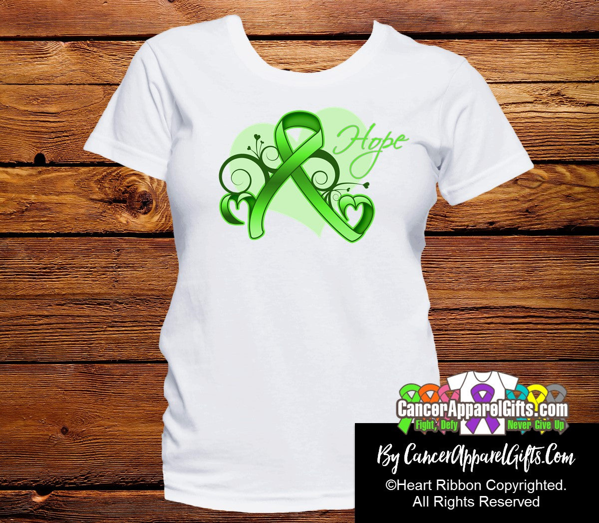 Lymphoma Heart of Hope Ribbon Shirts - Cancer Apparel and Gifts