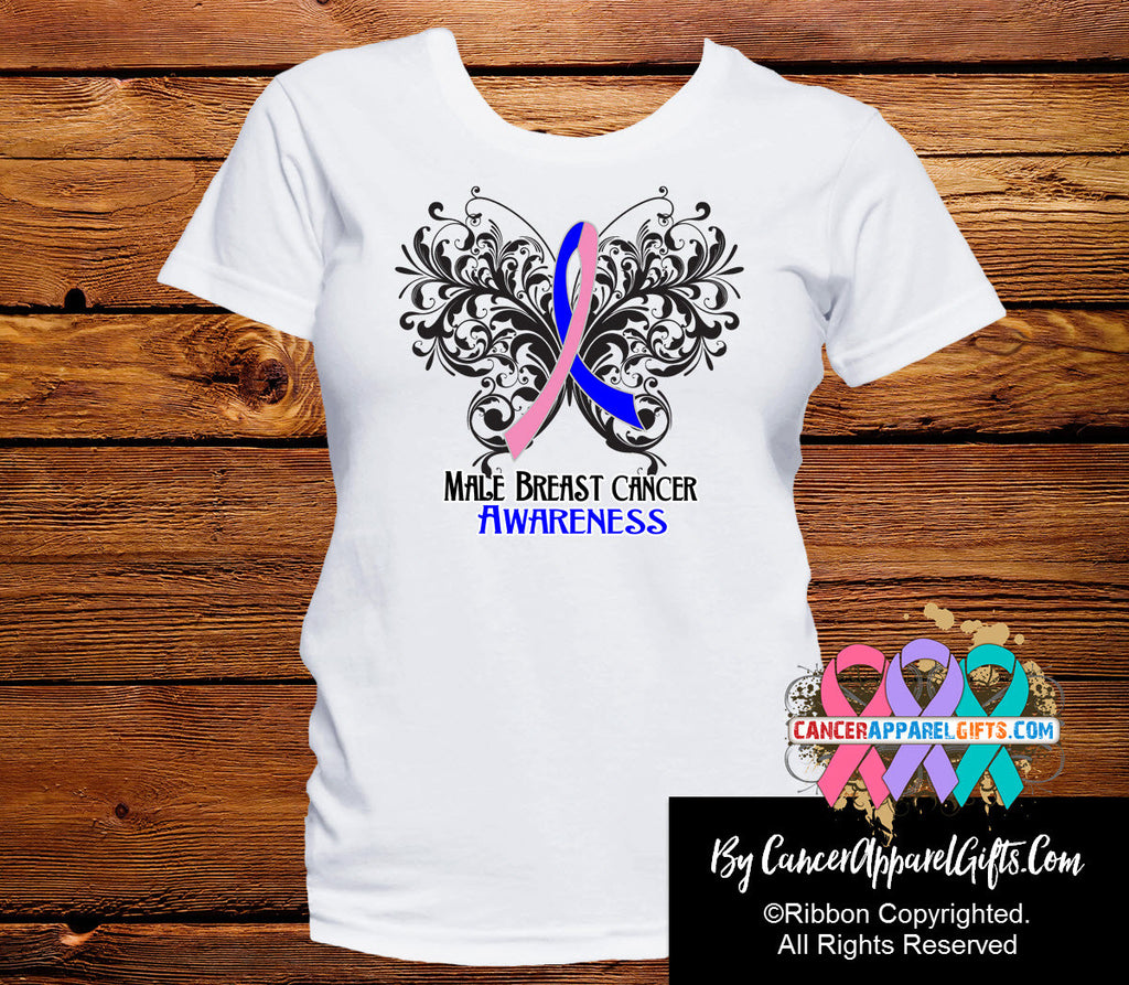 Male Breast Cancer Butterfly Ribbon Shirts