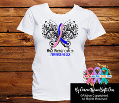 Male Breast Cancer Butterfly Ribbon Shirts - Cancer Apparel and Gifts