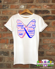Male Breast Cancer Butterfly Collage of Words Shirts