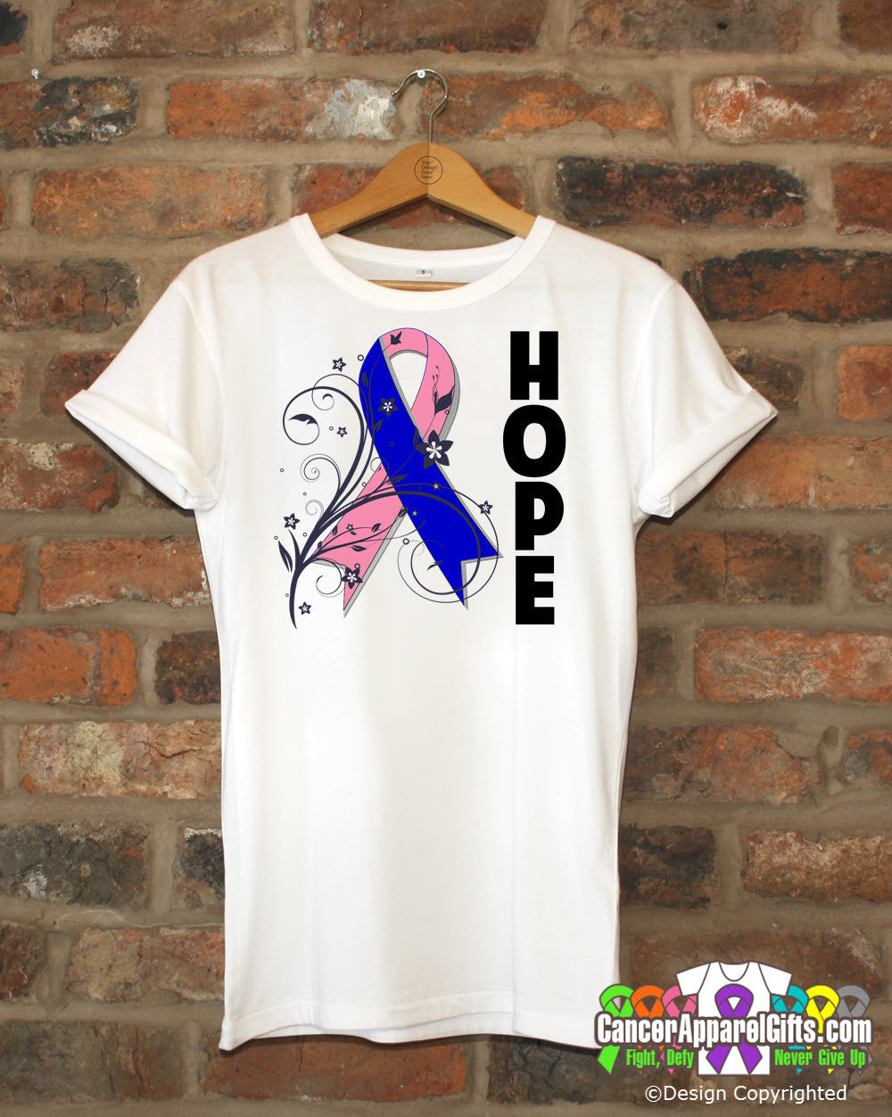 Male Breast Cancer Floral Hope Ribbon T-Shirt