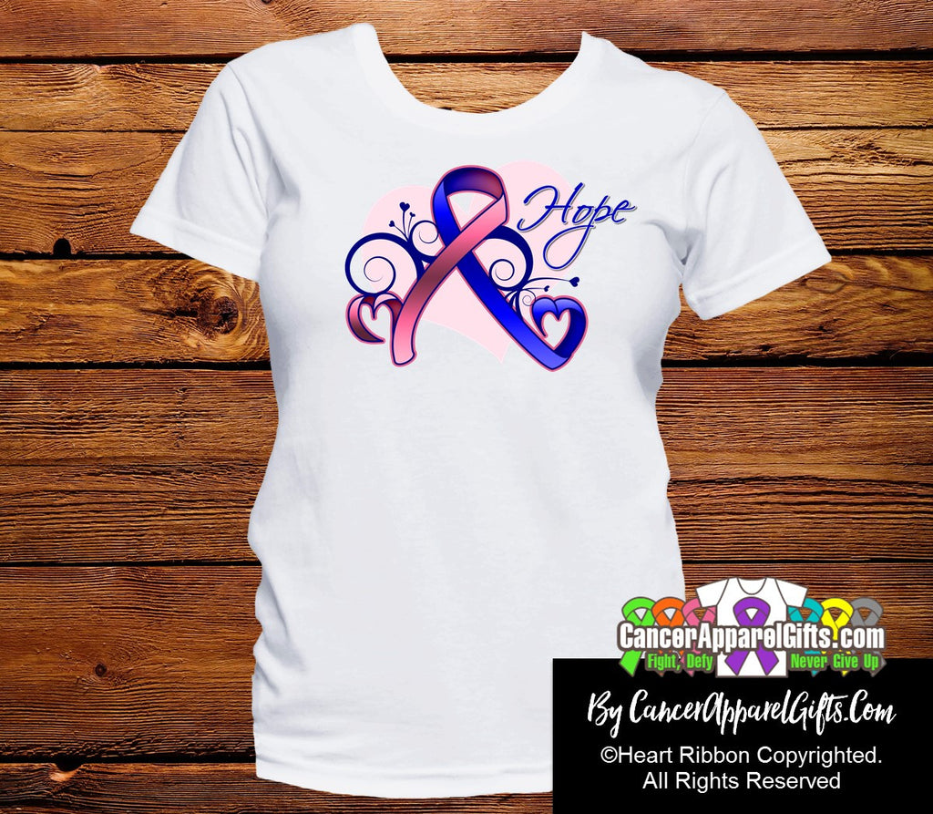 Male Breast Cancer Heart of Hope Ribbon Shirts