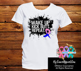 Male Breast Cancer Shirts Wake Up Kick Butt and Repeat - Cancer Apparel and Gifts