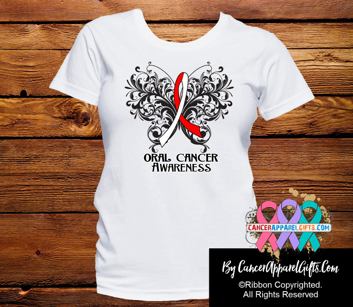 Oral Cancer Butterfly Ribbon Shirts - Cancer Apparel and Gifts