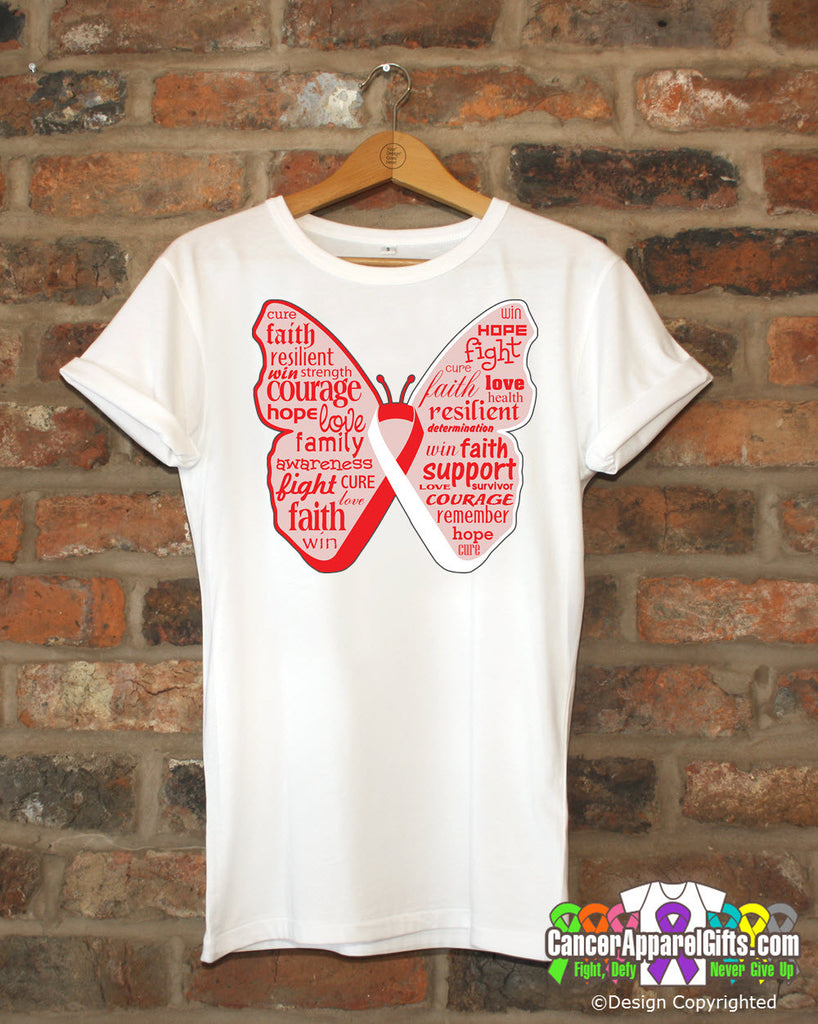 Oral Cancer Butterfly Collage of Words Shirts