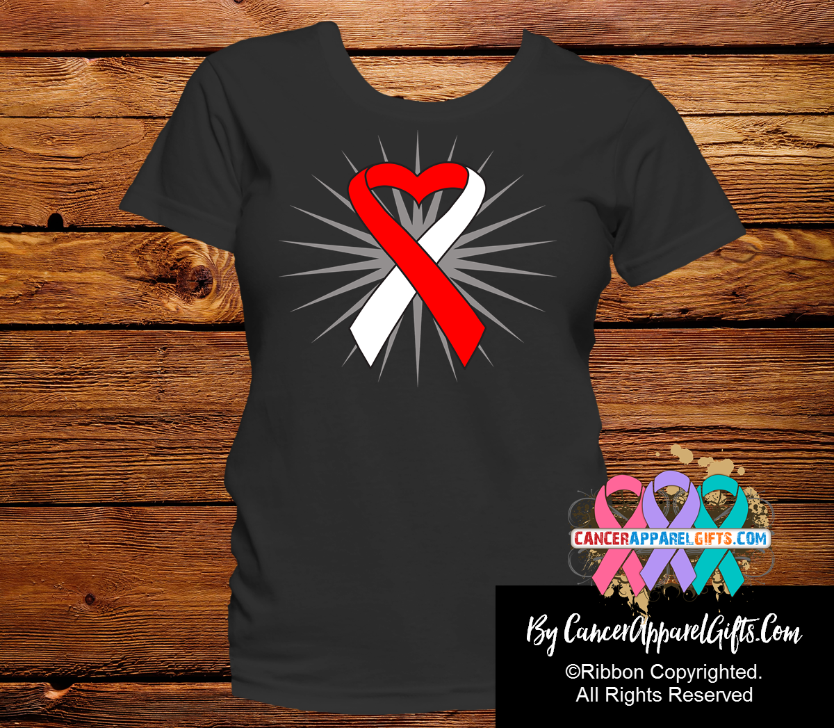 Oral Cancer Awareness Heart Ribbon Shirts - Cancer Apparel and Gifts