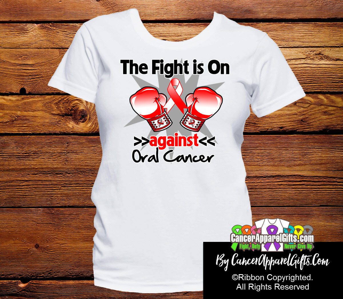 Oral Cancer The Fight is On Ladies Shirts