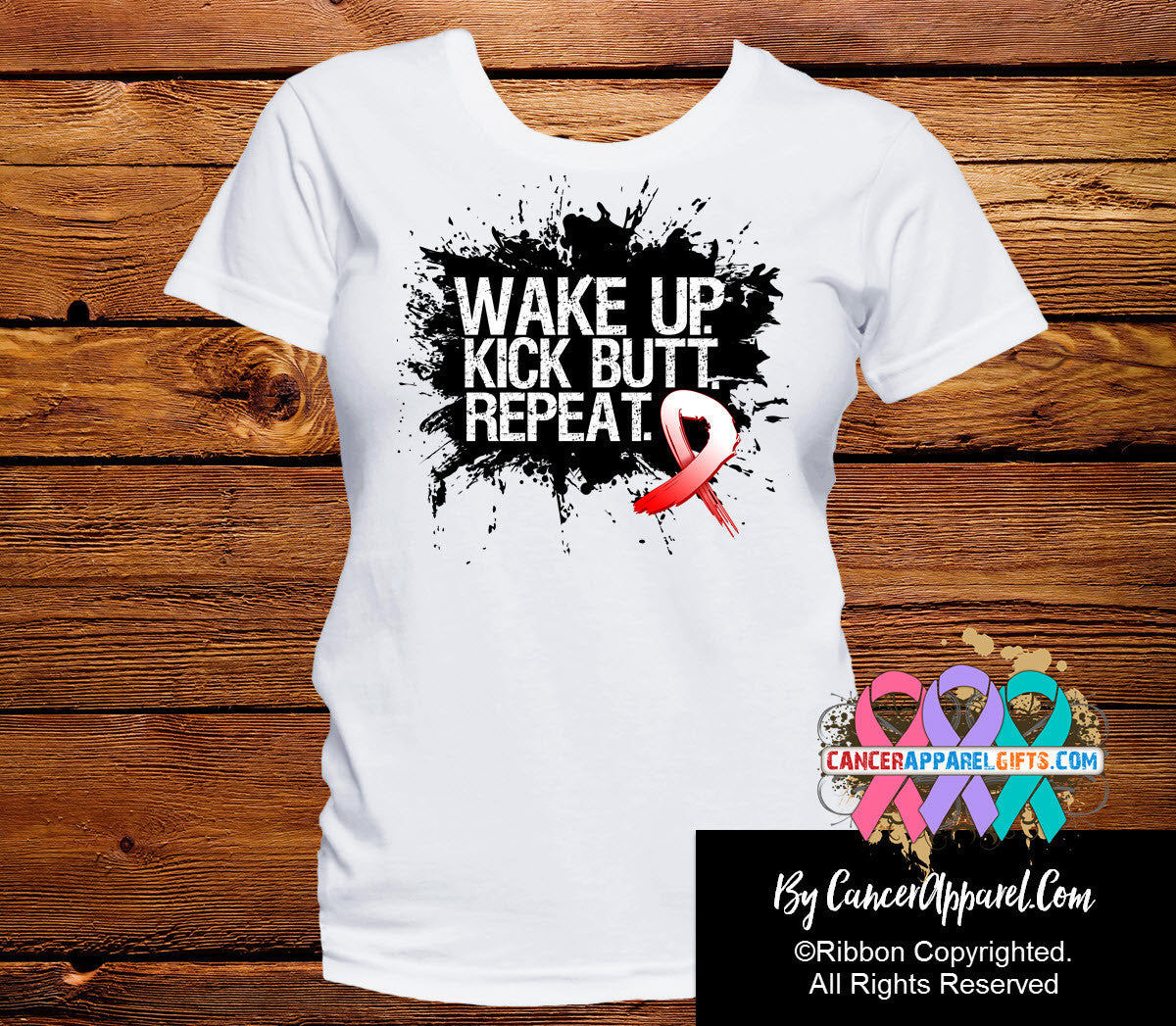 Oral Cancer Shirts Wake Up Kick Butt and Repeat