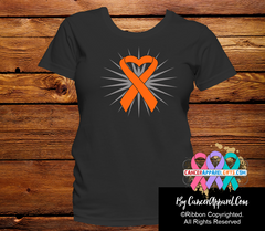Kidney Cancer Awareness Heart Ribbon Shirts - Cancer Apparel and Gifts