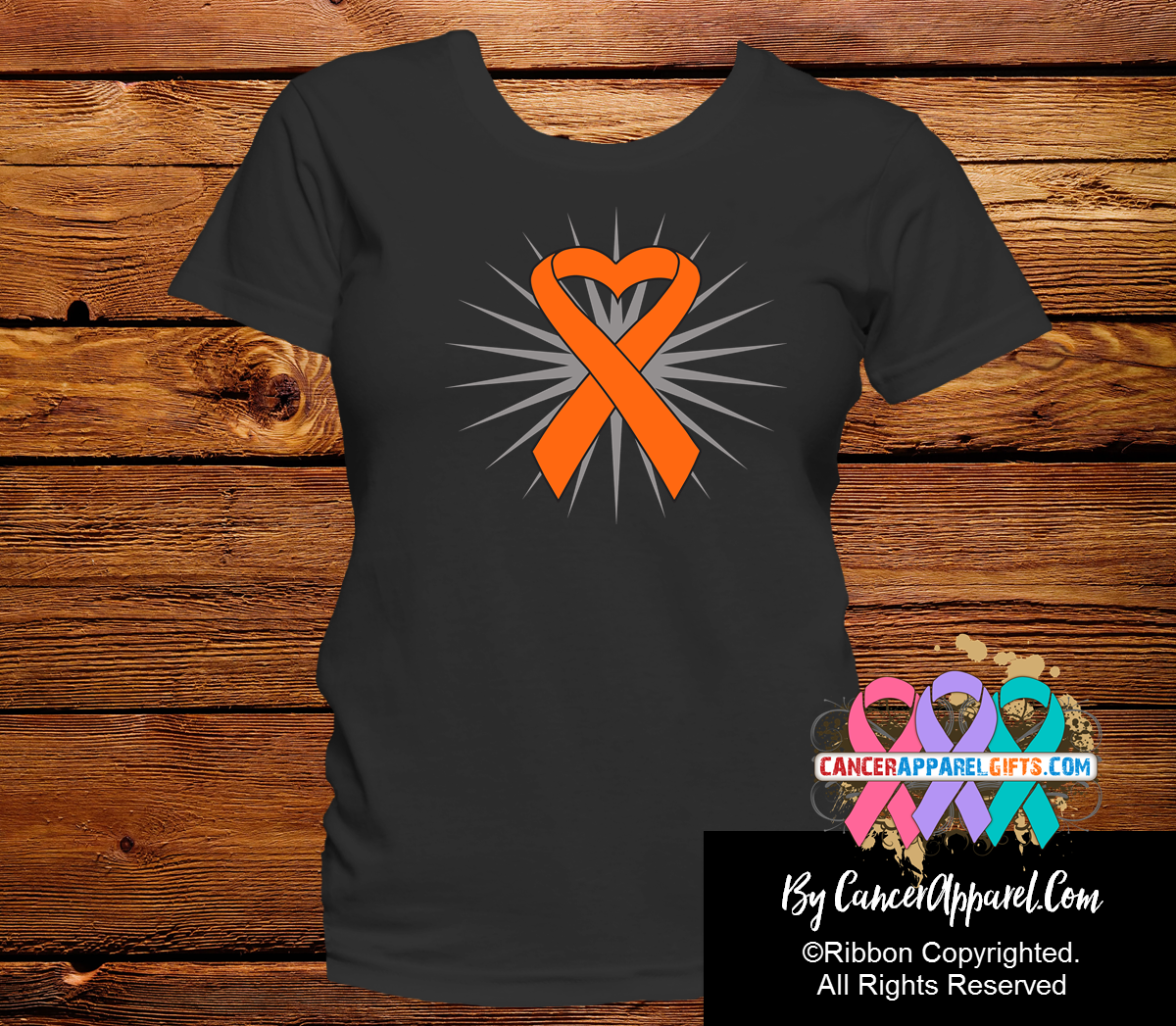 Leukemia Awareness Heart Ribbon Shirts - Cancer Apparel and Gifts
