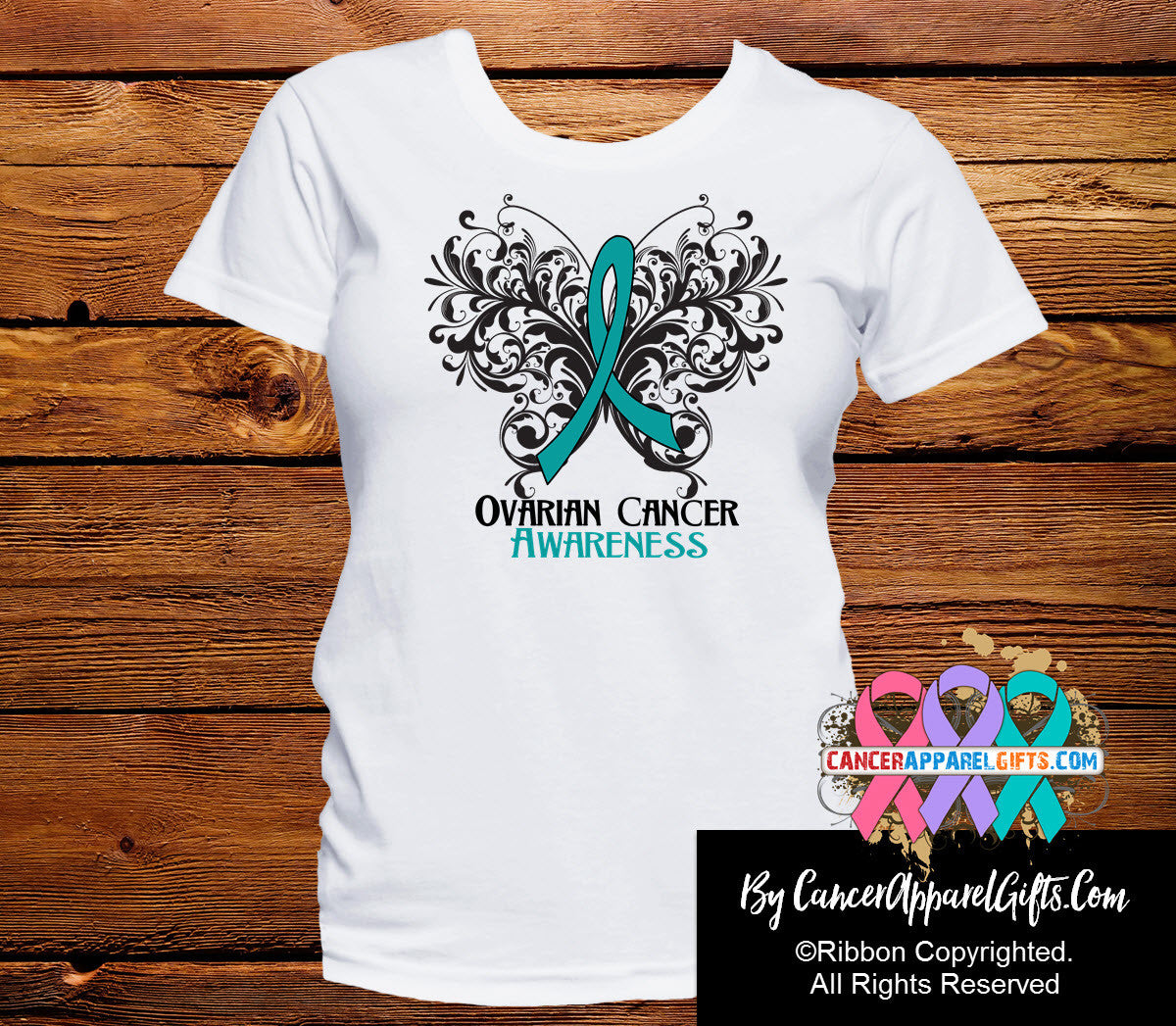 Ovarian Cancer Butterfly Ribbon Shirts - Cancer Apparel and Gifts