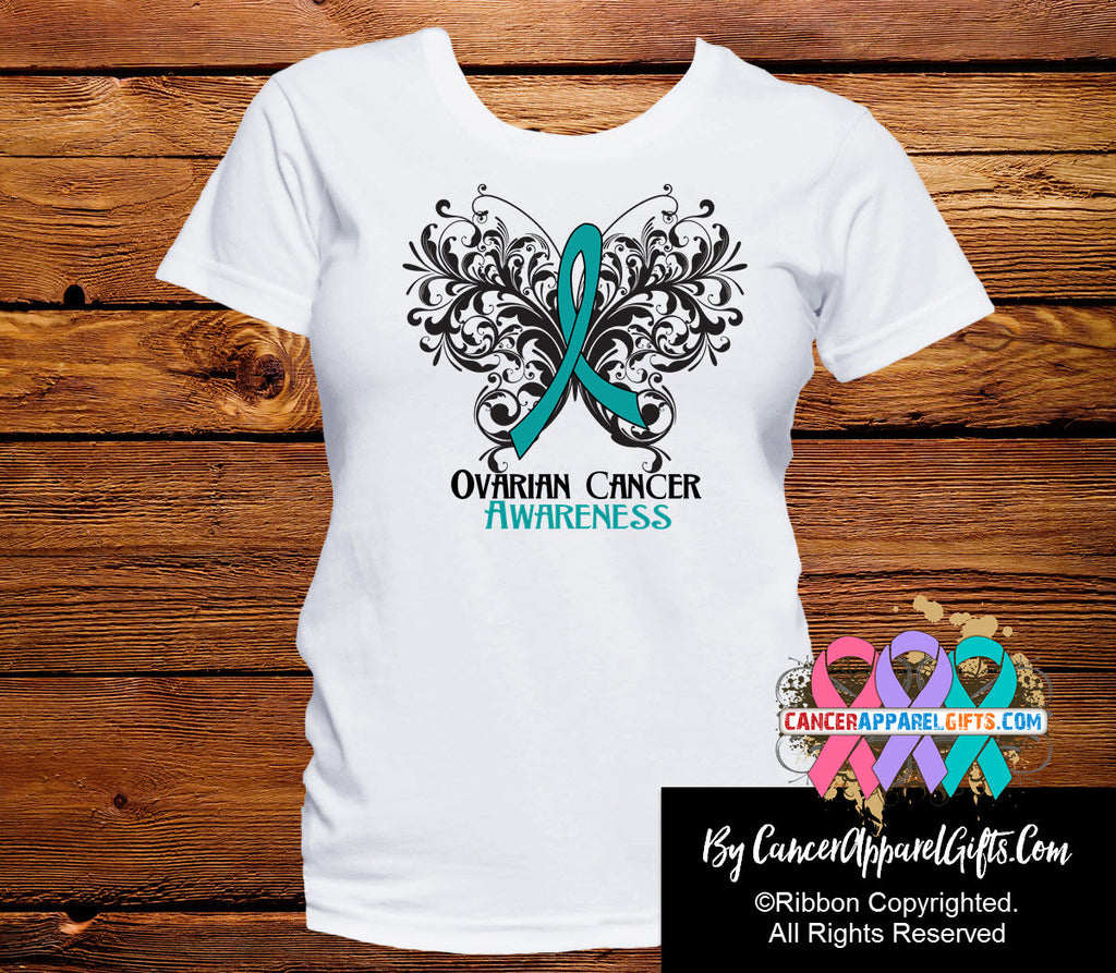 Ovarian Cancer Butterfly Ribbon Shirts